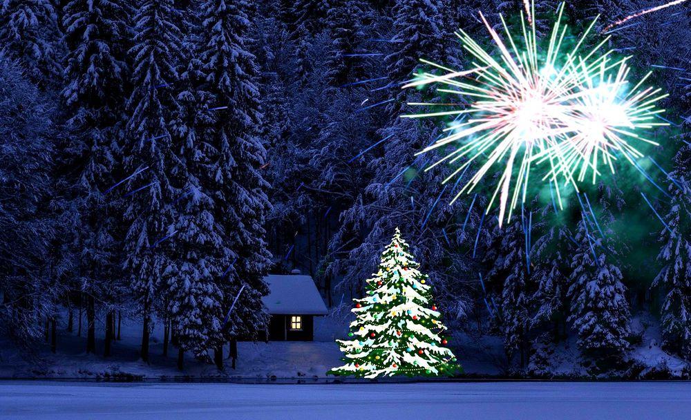 Обои Новогодняя елка поодаль от домика в лесу и салют над ...