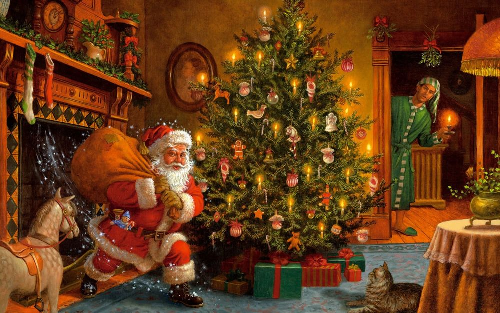 Обои для рабочего стола Санта Клаус влетает в комнату через камин с мешком подарков