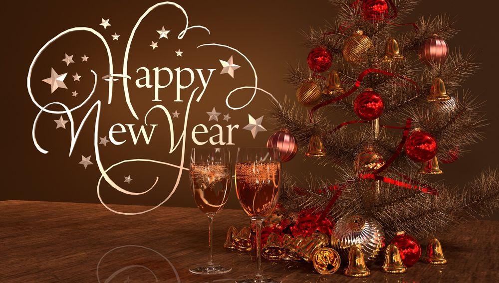 Обои для рабочего стола Два бокалаа с шампанским стоят перед новогодней елкой, (Happy New Year / счастливого нового года), автор Julian de Rooij