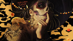 Обои Портрет девушки с макияжем на лице в стиле Santa Muerte / Святая Смерть,(Halloween circus), by Estelle Chomienne