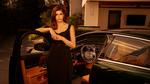 Обои Актриса Alexandra Anna Daddario / Александра Анна Даддарио стоит у авто