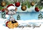 Обои Радостная мышка в шапке сидит на куске сыра среди шаров на елке Happy New Year! / Счастливого Нового Года!