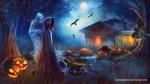 Обои Ведьма в плаще с капюшоном на голове стоит перед черной кошкой, а за ней стоит дух и лежат светильники Джека, обитель ведьмы в ночь Хэллоуина, by Secretadmires