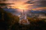 Обои Fairytale castle Neuschwanstein / сказочный замок Нойшванштайн в окружении осенних деревьев, Germany / Германия, фотограф Michael by Michael