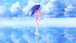 Обои Длинноволосая девушка с зонтом стоит на воде под облаками, by yourdadaki