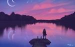 Обои Девуочка стоит на мостике у озера, by Heidi Varis