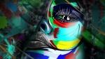 Обои Расписанное лицо девушки среди абстракции, by Stephanie Jones