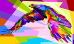 Обои Парящий орел раскрашенный множеством ярких цветных фрагментов, автор priatna788@gmail. com