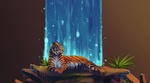 Обои Тигр лежит на камне на фоне водопада, by Coffeeandbiscuits