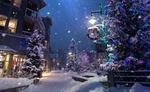 Обои Новогодние украшенные елки на заснеженной улице, by Roberto Nickson