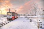 Обои Зимний Санкт-Петербург, трамвай на заснеженной улице, by Ed Gordeev