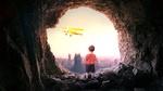 Обои Мальчик стоит в пещере и смотрит на летящий в небе самолет, by Kayo Verholeak