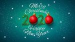Обои Цифры 2020 из шариков и веточек ели, (Merry Christmas / С Рождеством, Happy New year / С Новым годом)