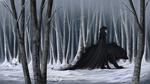 Обои Белокурый мужчина в черной одежде идет рядом с черным волком в зимнем лесу, by barn-swallow