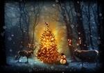Обои Олени со свтящимися рогами и снеговик у новогодней елки в лесу, (Merry Christmas / с рождеством)