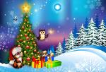 Обои Белочка в новогодней шапочке и сова с фейерверком возле наряженной елки у леса зимней ночью