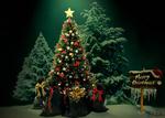 Обои Красивая новогодняя елка с подарками под ней и дощечка с надписью Merry Christmas / С рождеством, by Dalidas-Art