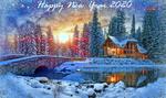 Обои Домик на фоне елок в снегу у реки с моcтом, (happy new year 2020 / счастливого нового года 2020)