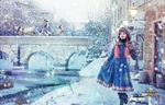 Обои Девочка стоит на улице рядом с новогодними подарками