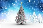 Обои Наряженная новогодняя белая елка на фоне зимнего леса под падающими снежинками