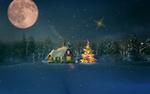 Обои Новогодняя елка у домика в новогоднюю ночь