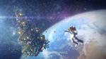 Обои Астронавт и новогодняя елка парят в космосе над планетой (Merry xmas / С Рождеством) by ZiJian Liang
