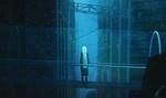 Обои Девочка с длинными белыми волосами стоит на мосту на фоне города, by Agent Malfoy