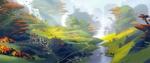 Обои Сказочная долина с небольшим поселением, которую пересекает речка, вдали водопады и горы в тумане, by Andrey Maximov