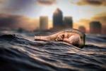 Обои Бутылка на воде моря, в которой лежит и спит лиса, by maciejkow