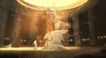 Обои Девушка стоит перед драконом с крыльями