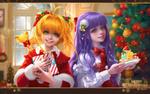 Обои Sakura Kinomoto / Сакура Киномото, Daidouji Tomoyo / Томое Дайдодзи и зверек Keroderos из аниме Сакура-собирательница карт / Cardcaptor Sakura,(Merry Christmas / Счастливого Рождества), by sunmomo