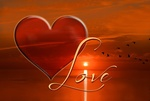 Обои Сердечко на фоне заката и летящих журавлей (Love / любовь), by Frauke Riether
