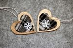 Обои Сердечки со снежинками на сером фоне, by Alicja