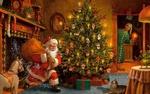Обои Санта Клаус влетает в комнату через камин с мешком подарков