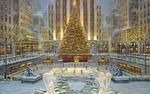 Обои Большая Новогодняя елка в центре города / Художник Robert Finale