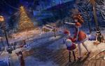 Обои Две девочки в новогодних костюмах на пути к наряженной елке, by Ji dao Ji