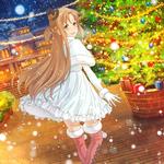 Обои Yuuki Asuna / Юки Асуна на фоне ночного города и падающего снега арт персонажа из аниме Sword Art Online / Мастера Меча Онлайн