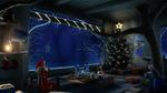 Обои Белокурая девушка в новогоднем наряде сидит с чашкой у стола в деревянном домике на дереве, с рождественским интерьером зимней ночью, by HatschYuh