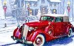 Обои Красный автомобиль на зимней улице с домами на фоне новогодних елок, фонарей с рождественскими венками,