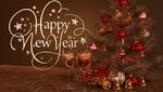 Обои Два бокалаа с шампанским стоят перед новогодней елкой, (Happy New Year / счастливого нового года), автор Julian de Rooij