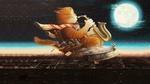 Обои Кот Кузьма играет на саксофоне, летя в кресле по ночном у небу, художник Александр Маскаев