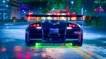 Обои Спорткар Lamborghini Murcielago LP 670-4 SV на шоссе ночного города, из игры Need For Speed, by Madz Rolly