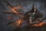 Обои Король демонов с драконом и с мечом среди дыма и пламени, by Alexander Skripnikov