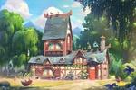 Обои The Bird House / Птичий дом на лесной опушке в ясный летний день
