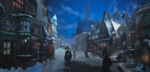 Обои Hermione Granger / Гермиона Грейнджер идет по улице деревни Hogsmeade before Christmas / Хогсмид перед Рождеством, арт к серии книг о Harry Potter / Гарри Поттере, by DraakeT