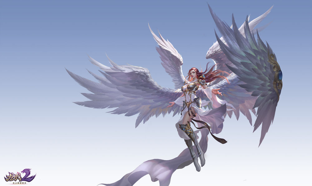 Обои для рабочего стола Девушка-ангел парит в небе, by Yang chen