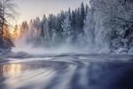 Обои Река зимним утром, Finland / Финляндия, by Bansman