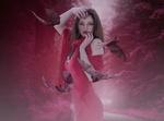 Обои Девушка с длинными темными волосами в красной одежде на фоне летучих мышей, by Enrique Meseguer