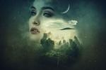 Обои Девушка на фоне луны, неба и деревьев, by Enrique Meseguer