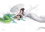 Обои Две девушки-змеи, by wenfei ye